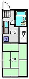 神奈川県横浜市旭区鶴ケ峰1丁目の賃貸アパートの間取り