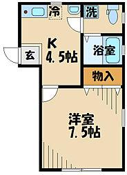 DOME-TAMA MM 1階1Kの間取り