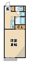 JR八高線 毛呂駅 徒歩16分の賃貸アパート 2階1Kの間取り