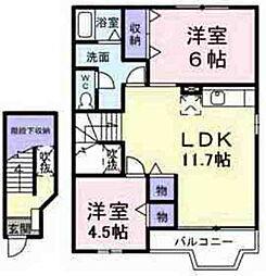 JR五日市線 武蔵五日市駅 徒歩15分の賃貸アパート 2階2LDKの間取り