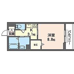 仮)新松戸4丁目ホテルライクシャーメゾン 2階1Kの間取り