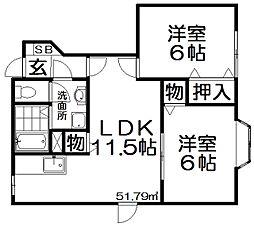 ヌーヴォー藤阪[1階]の間取り