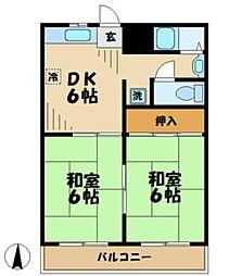 東京都多摩市中沢1丁目の賃貸アパートの間取り