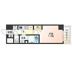 阪神なんば線 九条駅 徒歩4分の賃貸マンション 12階1Kの間取り