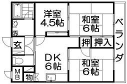 宮之阪ハイツ壱番館[6階]の間取り