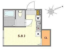 バーミープレイス吉祥寺2 1階ワンルームの間取り