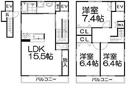 [一戸建] 大阪府枚方市中宮北町 の賃貸【/】の間取り