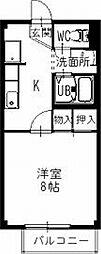 JR中央本線 瑞浪駅 4.6kmの賃貸アパート 1階1Kの間取り
