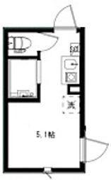 (仮称)HOMEDAYS高田馬場 1階ワンルームの間取り