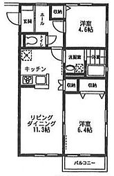オーチャード・アパートメントB[2階]の間取り
