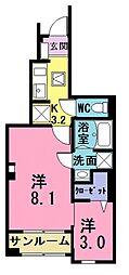 西武池袋線 ひばりヶ丘駅 バス5分 火の見下(埼玉県)下車 徒歩4分の賃貸アパート 1階2Kの間取り