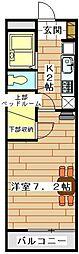 西武新宿線 南大塚駅 徒歩24分の賃貸マンション 2階1Kの間取り