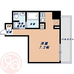 Osaka Metro長堀鶴見緑地線 西長堀駅 徒歩4分の賃貸マンション 3階ワンルームの間取り