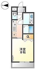 南海高野線 金剛駅 徒歩7分の賃貸アパート 1階1Kの間取り