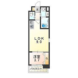 おおさか東線 南吹田駅 徒歩7分の賃貸マンション 3階1LDKの間取り