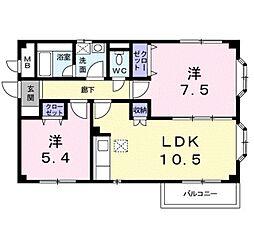 近鉄長野線 滝谷不動駅 徒歩11分の賃貸アパート 1階2LDKの間取り