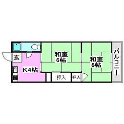 大阪モノレール本線 万博記念公園駅 徒歩19分の賃貸マンション 3階2Kの間取り