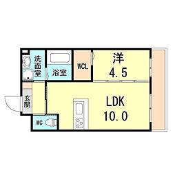 (仮称)八幡町3丁目マンション 1階1LDKの間取り