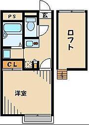レオパレスグレープヒルB 33981 1階1Kの間取り
