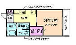 大阪府箕面市桜1丁目の賃貸アパートの間取り