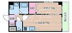JR東海道・山陽本線 吹田駅 徒歩5分の賃貸マンション 2階1LDKの間取り