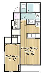 JR相模線 社家駅 徒歩15分の賃貸アパート 1階1LDKの間取り
