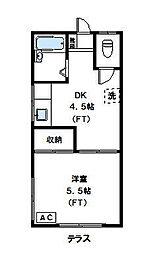 神奈川県川崎市高津区北見方1丁目の賃貸アパートの間取り