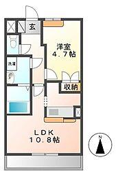 茨城県つくば市研究学園3丁目の賃貸アパートの間取り