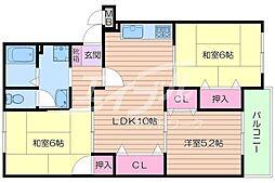 大阪府箕面市桜3丁目の賃貸アパートの間取り