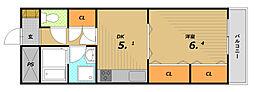 グランパレ板宿[5階]の間取り