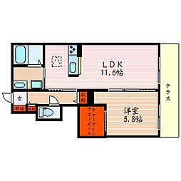 滋賀県米原市梅ケ原の賃貸アパートの間取り