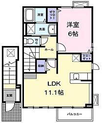 JR五日市線 武蔵五日市駅 徒歩12分の賃貸アパート 2階1LDKの間取り