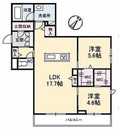 アントゥール B 2階2LDKの間取り