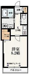 小田急小田原線 経堂駅 徒歩9分の賃貸マンション 1階1Kの間取り