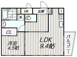 都営浅草線 戸越駅 徒歩5分の賃貸マンション 3階1LDKの間取り