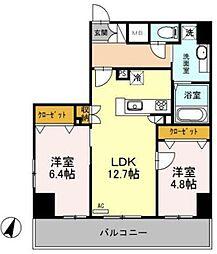 東武伊勢崎線 越谷駅 徒歩5分の賃貸マンション 9階2LDKの間取り