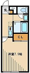 西武新宿線 狭山市駅 徒歩23分の賃貸アパート 1階1Kの間取り