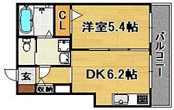 Osaka Metro今里筋線 だいどう豊里駅 徒歩6分の賃貸マンション 1階1DKの間取り