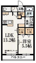 京王線 布田駅 徒歩5分の賃貸マンション 2階1LDKの間取り