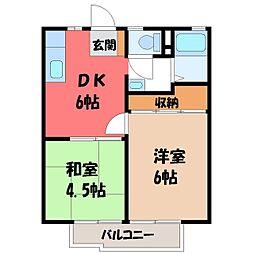 栃木県宇都宮市泉が丘7丁目の賃貸アパートの間取り