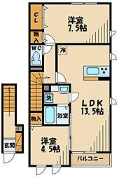ブリリア 2階2LDKの間取り