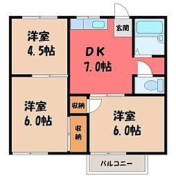 栃木県宇都宮市陽東6の賃貸アパートの間取り