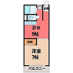 栃木県宇都宮市中今泉4の賃貸マンションの間取り