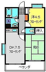 フェリックス新川崎 3階2DKの間取り