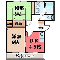 栃木県小山市城東6丁目の賃貸アパートの間取り