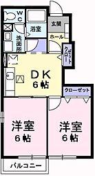 JR五日市線 武蔵五日市駅 徒歩19分の賃貸アパート 1階2DKの間取り