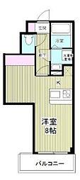 CROSS COURT Naka-Aoki 2階ワンルームの間取り