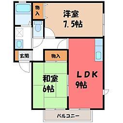 栃木県下野市上古山の賃貸アパートの間取り