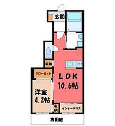 オープンヒル 1階1LDKの間取り