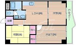 JR東海道・山陽本線 千里丘駅 徒歩15分の賃貸マンション 2階3LDKの間取り
